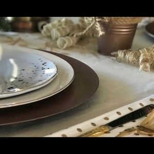 4 southern Living light blue and gold plates